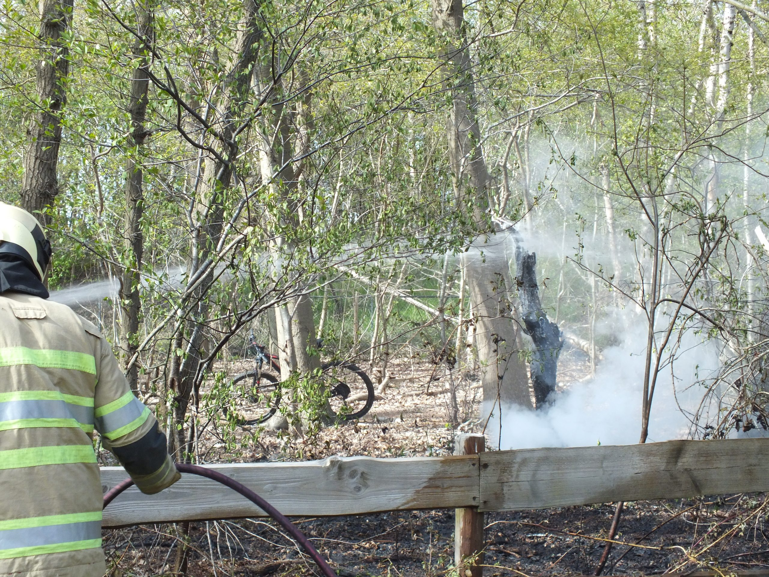 Beginnende bosbrand in de kiem gesmoord